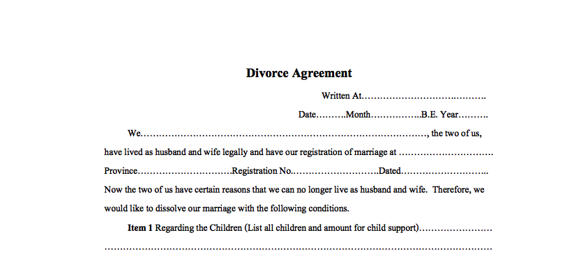 Simple Divorce Agreement For Thailand Thai English Example